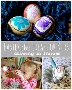 Egg Ideas for Kids – The Egg as a Mini Canvas Easter Egg Ideas :: Drawing in Frames -- an easy and creative egg decorating idea for kids!Easter Egg Ideas :: Drawing in Frames -- an easy and creative egg decorating idea for kids! Easter Activities, Easter Crafts For Kids, Easter Ideas, Easter Recipes, Hoppy Easter, Easter Bunny, Easter Eggs, Holiday Crafts, Holiday Fun