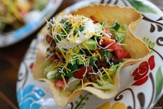 Taco Salad in a Crispy Golden Taco Shell - NowFindGlutenFree.com