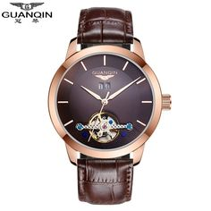 GUANQIN Men Watch Automatic Mechanical Watches Hollow Vintage Leather Men Watch Waterproof Wristwatches Relogio Masculino Reloj