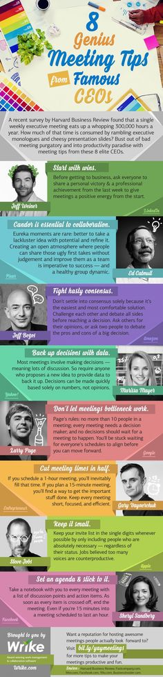 8 Genius Meeting Tips from Famous CEOs at Pixar, Google, Facebook, and more (infographic)