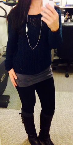 Off the shoulder a&f sweater with leggings and leg warmers