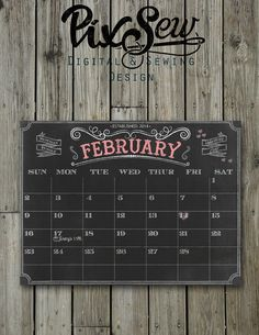 Calendar Chalkboard  Personalize with names and by PixSew on Etsy, $5.00