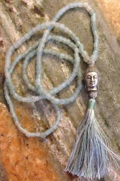 Silver Buddha Head on Sea Glass Mala Necklace - tranquil and serene
