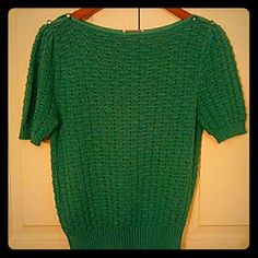 """~NEW~ Vintage Turquoise Sweater Vintage lightweight knit top with two pearlized buttons on both shoulders. Measurements laying flat nit stretched to: Bust 17"""" Waist 12"""" Length from shoulder 22"""" Excellent vintage condition kenneth Too Petite Tops"""