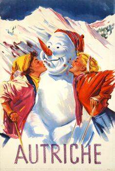 vintage ski poster. Anonymous / 1950 Autriche