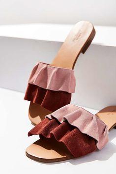 68343aec3 Suede Ruffle Slide    Delightfully femme ruffled slide sandals