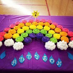 Rainbow cupcake cake with sun and raindrops!    Made by Tasha McKinley