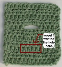 How to change the location of a misplaced buttonhole in crochet.