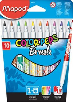 Maped Color'Peps Brush Tip Ultrawashable Markers, Assorted Colors, Pack of 10 Stationary Store, Stationary School, Hello Kitty Purse, Cool School Supplies, School Suplies, Stabilo Boss, Cute Notebooks, Too Cool For School, Writing Instruments