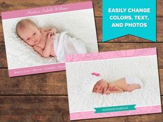 Pink Birth Announcement Templates