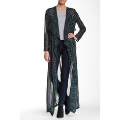 OOBERSWANK Long Plaid Chiffon Duster ($29) ❤ liked on Polyvore featuring dark green