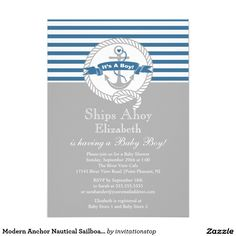 Modern Anchor Nautical Sailboat Boy Baby Shower Card.  Artwork designed by invitationstop. Price $1.90 per card