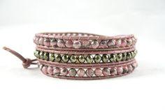 Pink Beaded Bracelet with Pyrite and Pink by JadeWalkStudios