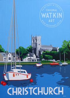 Christchurch Dorset original painting and prints by Richard Watkin Watkin Art Posters Uk, Train Posters, Railway Posters, Art Deco Posters, Poster Prints, Graphic Posters, Art Deco Paintings, Nostalgic Art, Tourism Poster