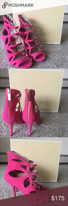 Michael Kors pink suede heels Michael Kors Casey bright pink suede heels. Only tried on, never worn outside. NWT                 Willing to accept a lower price offer, as long as it's fair and reasonable Michael Kors Shoes Heels