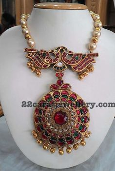 Gold Balls Pearls Set with Heavy Locket - Jewellery Designs India Jewelry, Temple Jewellery, Jewelry Art, Antique Jewelry, Gold Jewelry, Beaded Jewelry, Fashion Jewelry, Bead Jewellery, Vintage Jewellery