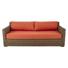fd861b0a93ea37 Canapé de jardin 3 4 places en résine tressée et tissu rouge brique    Maisons