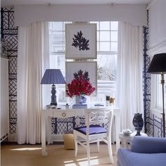 For desk nook. Gorgeous blue and white inspiration. Love the pelmet box and draperies, too.