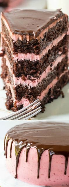 This Chocolate Raspberry Cake from Tornadough Alli is so incredibly moist and delicious. It's a chocolate cake that gets layered with raspberry buttercream, then drizzled with your favorite — chocolate ganache!