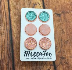 Rose Gold Set of 3 earrings- Sparkle Blye, white and clear only $33 meccafox.bigcartel.com