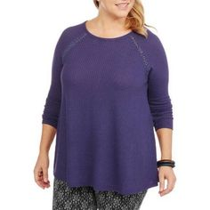 Plus Size Faded Glory Women's Plus Thermal Tunic with Back Lace Detail, Size: 4XL