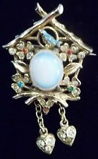 Vintage Coro Jelly Belly Bird House Brooch Pin Cuckoo Clock Figural Enamel