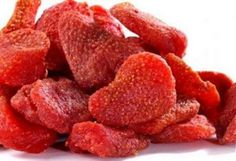 Strawberries dried in the oven  Taste like candy but are healthy & natural! 3 hrs at 210 degrees. Try making this for your kids and family --