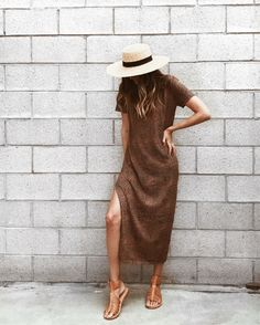 brown dress with mini leopard print and brown woven leather sandals Textiles Y Moda, Fabrics, Spring Summer Fashion, Autumn Fashion, Look Fashion, Fashion Outfits, Casual Outfits, Cute Outfits, Bohemian Mode