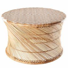 Bout de canapé en bambou et fils blancs OSSIAN