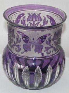 VAL ST LAMBERT Art Glass BUTTERFLY Vase AMETHYST Purple