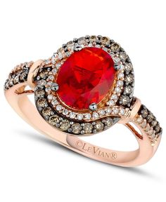 Le Vian Fire Opal (9/10 ct. Chocolate ( 1/3 ct. t.w.) and White Diamond (1/6 ct. t.w.) Ring in 14k Rose Gold