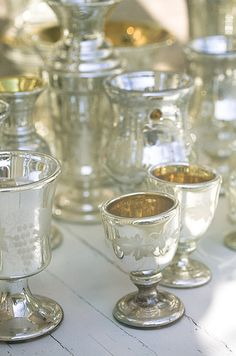 mercury glass cups + vases