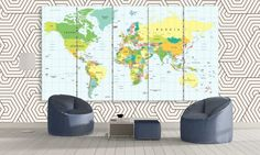 Large World Map Office Political Wall Art / 3 by CanvasFactoryCo