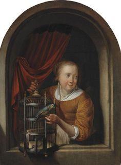 Gerrit Dou - Jong meisje met een papegaai in een nis
