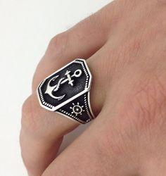 Anchor silver ring (for men)