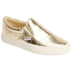 Superga 'Metro' Slip-On Sneaker (Women) ($47) ❤ liked on Polyvore featuring shoes, sneakers, gold, crocs shoes, metallic gold sneakers, slip on shoes, metallic sneakers and gold slip on sneakers