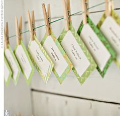 DIY place cards - blue and green paper, with names cut out from printed paper, string/ribbon and clothespins! Vintage Fonts, Green Paper, A Table, Table Seating, Votive Candles, Maid Of Honor, Some Fun, Real Weddings, Finding Yourself
