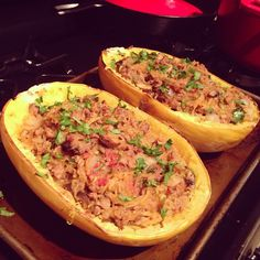 """Spaghetti squash boats with beef and mushrooms were a big hit. Thanks @FreshDirect for awesome ingredients!"""