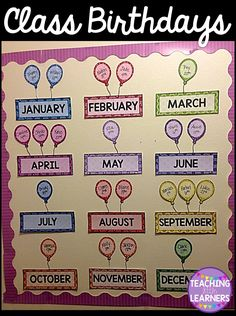 Fun Way To Display Your Class Birthdays Classroom Birthday Displays Chart