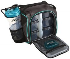 Fit & Fresh Jaxx FitPak Meal Prep Bag and Container Set with 6 Leakproof Portion Control Containers, Ice Pack and Jaxx Shaker Cup, Teal Shaker Cup, Shaker Bottle, Zumba, Portion Control Containers, Meal Prep Bag, Cool Lunch Boxes, Insulated Lunch Bags, Camping Meals, Get Healthy