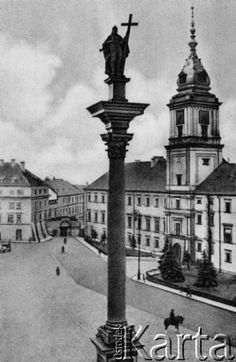 1900-1914, Warszawa Plac Zamkowy, na pierwszym planie Kolumna Zygmunta, w tle Zamek Królewski. Fot. NN, zbiory Ośrodka KARTA