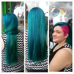 Teal and pink mermaid hair :D  Hair by Jen Cleroux from B-Bombshell Salon New Westminster, BC Where Geek is Chic!