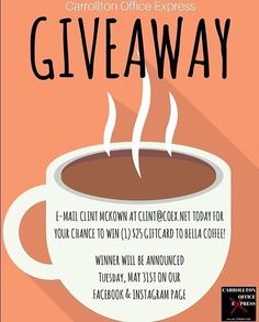 You still have time to register to win a $25 Bella Coffee gift card! Check out above how you can enter! The winner will be announced on the @carrollton_office_express Facebook & Instagram pages on 5/31! #visitcarrollton #carrolltonga #shoplocal