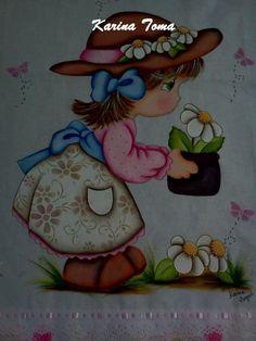 Lindo Pano de Prato pintado a mão com barrado em tecido R$ 38,00