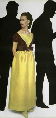 1964 Jeanne Lanvin 60s yellow brown bow evening dress long gown color photo print ad model magazine
