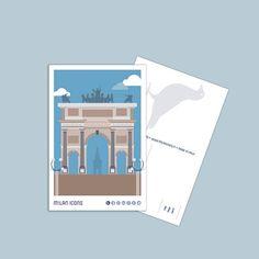Milan Icons Postcard, Arco della Pace, piazza Sempione, Milano Milan, Polaroid Film, Icons, Etsy, Vintage, Symbols, Vintage Comics, Ikon