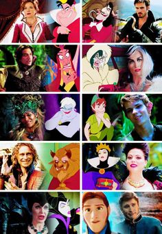 Jafar (Once Upon A Time in Wonderland) & Cruella De Ville & Ursula & Peter Pan & Mr Gold AKA Rumpelstiltskin & Regina Mills AKA Evil Queen & Malificent & Hans