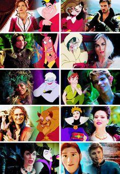 Jafar (Once Upon A Time in Wonderland) & Cruella De Ville & Ursula & Peter Pan & Mr Gold AKA Rumpelstiltskin & Regina Mills AKA Evil Queen & Malificent & Hans