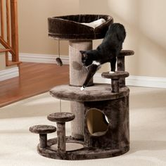 With multiple levels and multiple perching platforms, this cat tree is almost like having two trees in one. Very economically priced, and made to withstand energetic kitty play.