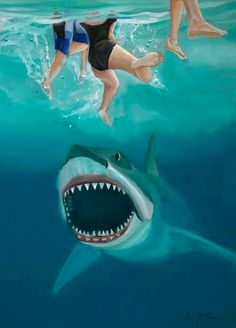 Horror Icons, Horror Comics, Horror Films, Horror Art, The Great White, Great White Shark, Jaws Movie, Jaws 4, Shark Pictures